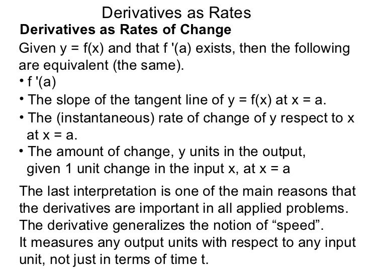 4.2 more derivatives as rates