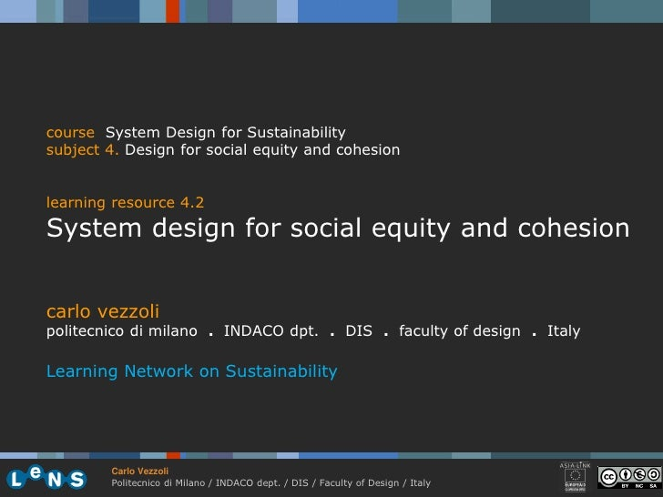 course System Design for Sustainability subject 4. Design for social equity and cohesion   learning resource 4.2 System de...