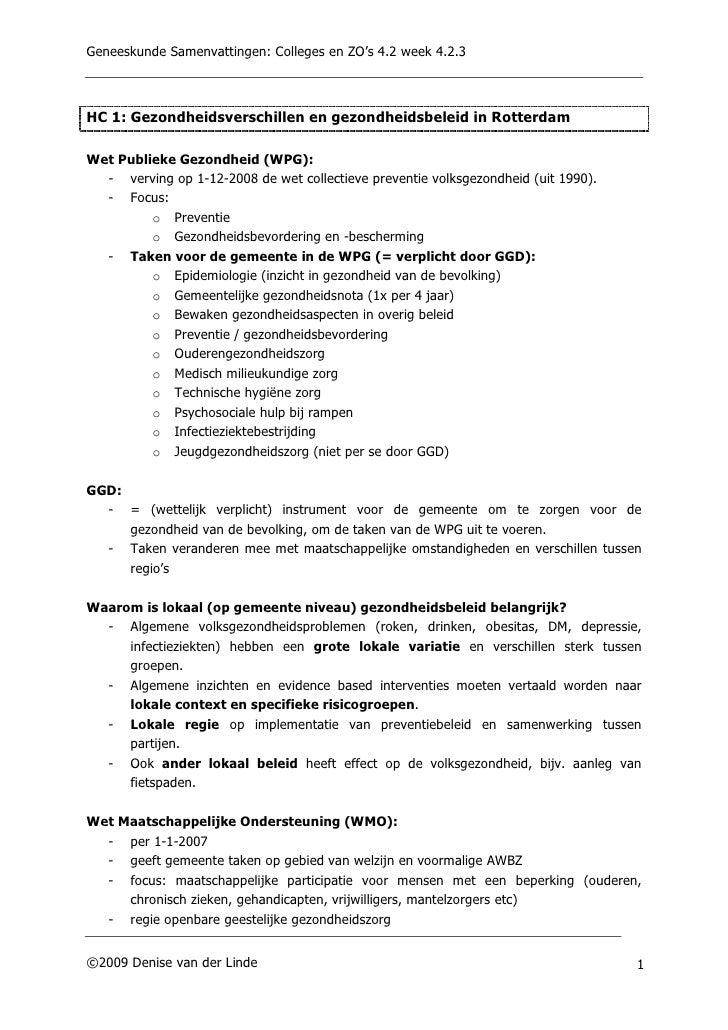 Geneeskunde Samenvattingen: Colleges en ZO's 4.2 week 4.2.3    HC 1: Gezondheidsverschillen en gezondheidsbeleid in Rotter...