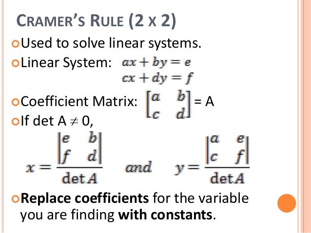 cramer's rule Given a system of linear equations, cramer's rule uses determinants of a matrix to solve for just one of the variables without having to solve the whole system of.