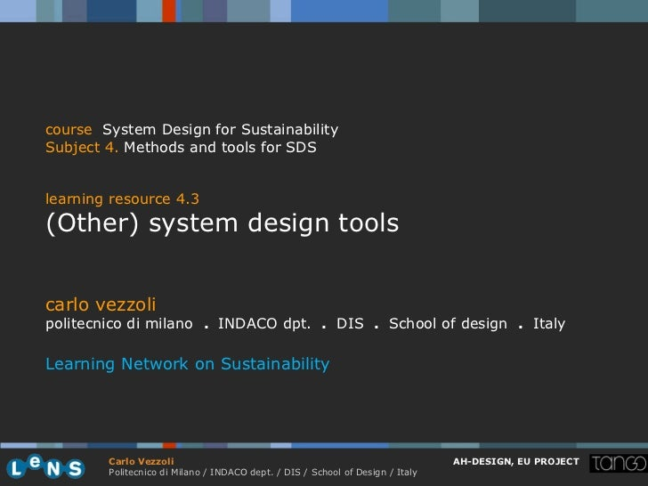 course System Design for SustainabilitySubject 4. Methods and tools for SDSlearning resource 4.3(Other) system design tool...
