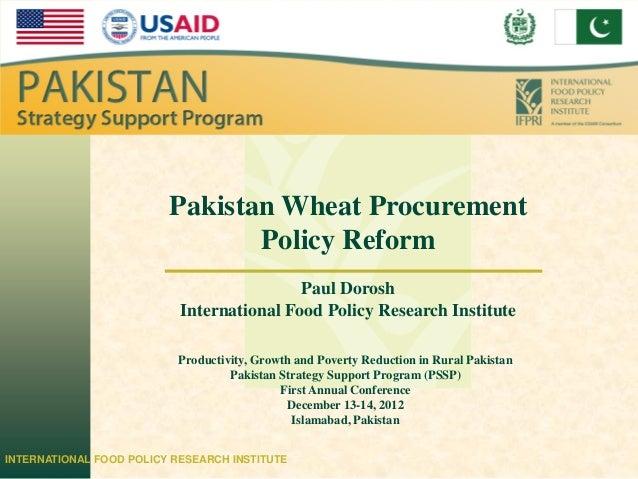 IFPRI                         Pakistan Wheat Procurement                                Policy Reform                     ...