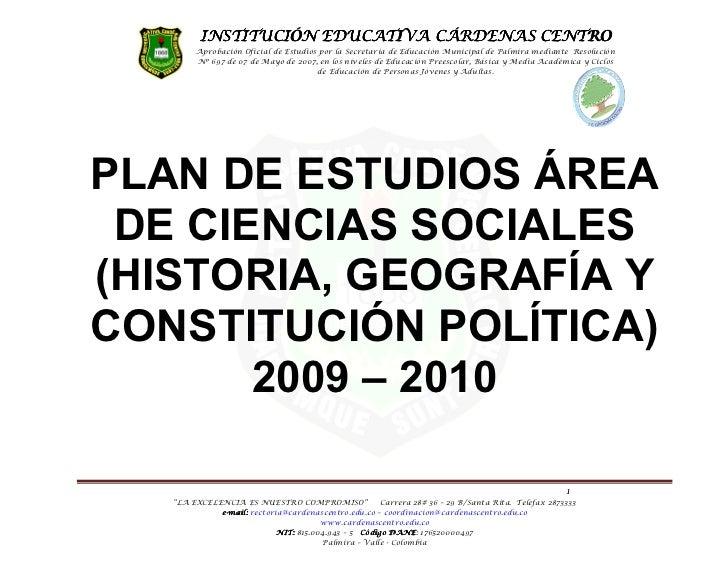PLAN DE ÁREA CIENCIAS SOCIALES 2009 2010  IECC