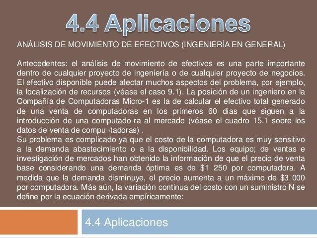 4.4 Aplicaciones ANÁLISIS DE MOVIMIENTO DE EFECTIVOS (INGENIERÍA EN GENERAL) Antecedentes: el análisis de movimiento de ef...