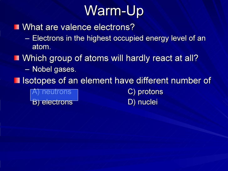 Warm-Up <ul><li>What are valence electrons? </li></ul><ul><ul><li>Electrons in the highest occupied energy level of an ato...