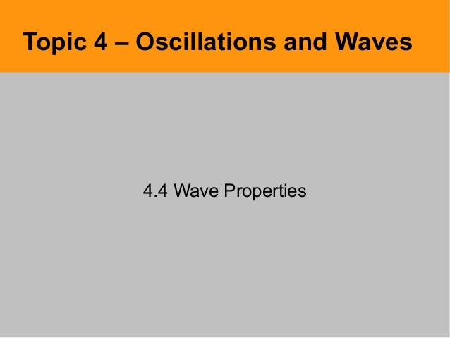 Topic 4 – Oscillations and Waves4.4 Wave Properties