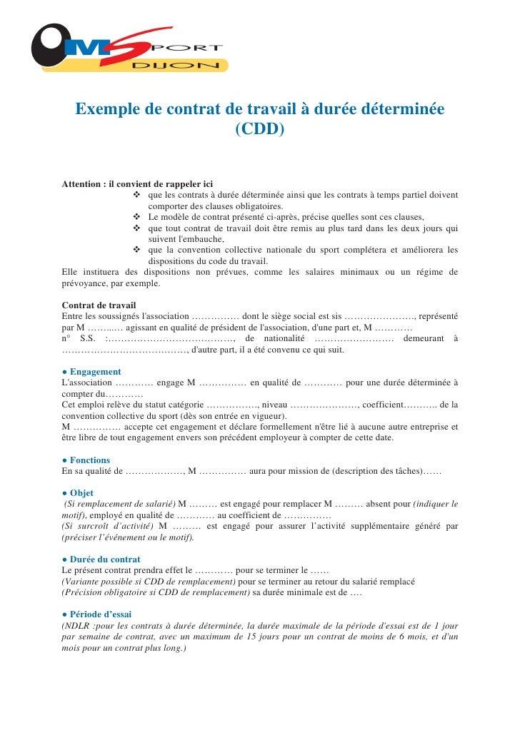 exemple contrat de travail cdd