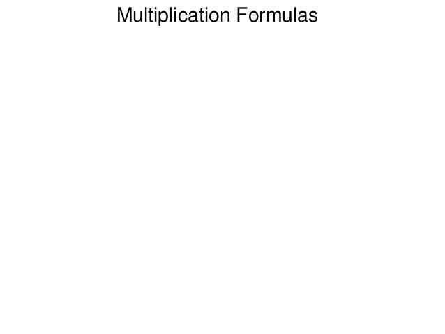 Multiplication Formulas
