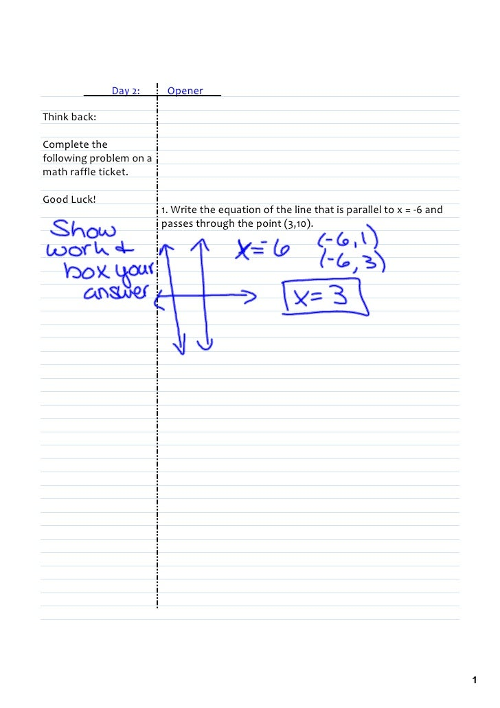 Day2:Opener  Thinkback:  Completethe followingproblemona mathraffleticket.  GoodLuck!          ...