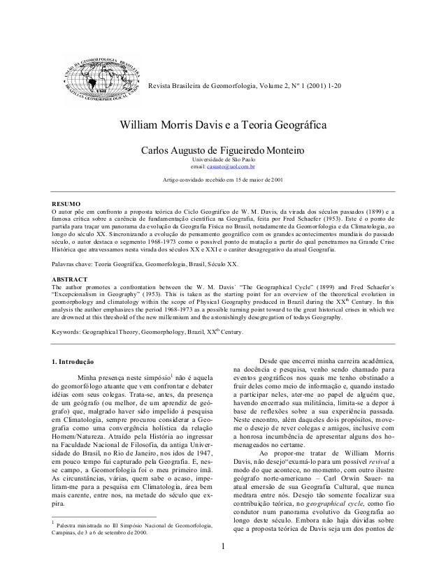 Monteiro, C. A. de F. / Revista de Geomorfologia, volume 2, nº 2 (2001)                                     Revista Brasil...