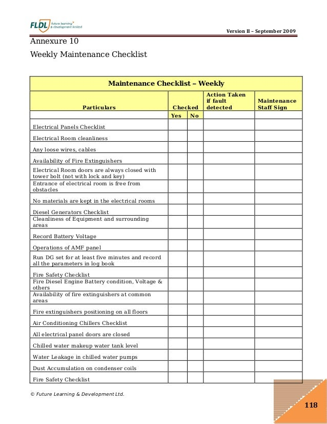 Server Room Cleaning Checklist