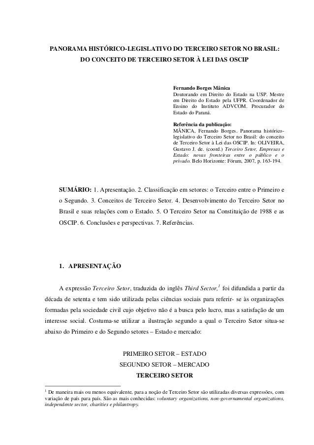 PANORAMA HISTÓRICO-LEGISLATIVO DO TERCEIRO SETOR NO BRASIL:                DO CONCEITO DE TERCEIRO SETOR À LEI DAS OSCIP  ...
