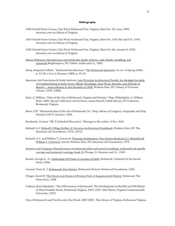 37                                                  Bibliography  1900 United States Census, Clay Ward, Richmond City, Vir...