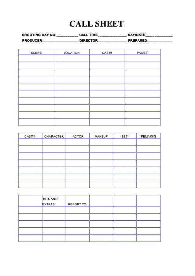 Call Sheet rdLZp34h