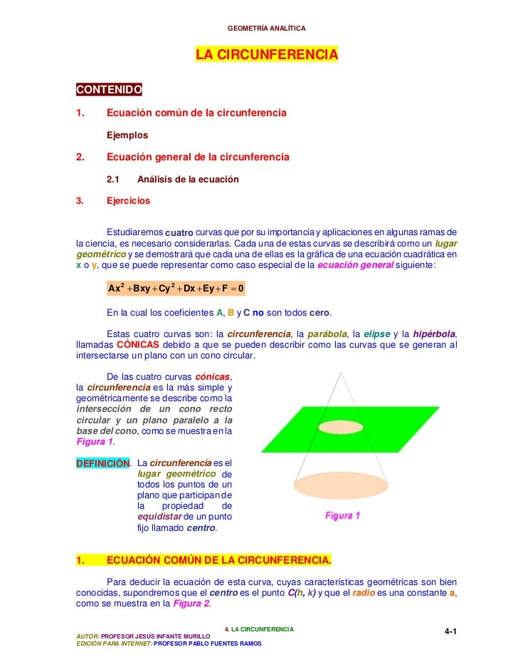 GEOMETRÍA ANALÍTICA                                 LA CIRCUNFERENCIACONTENIDO1.      Ecuación común de la circunferencia ...
