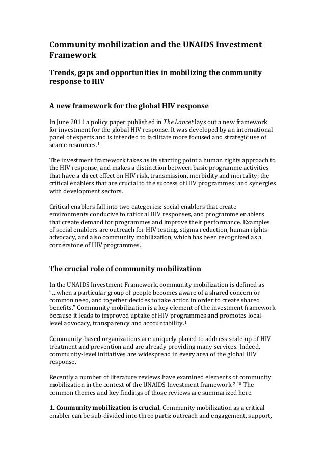 Community mobilization and the UNAIDS Investment Framework  Trends, gaps and opportunities in mo...