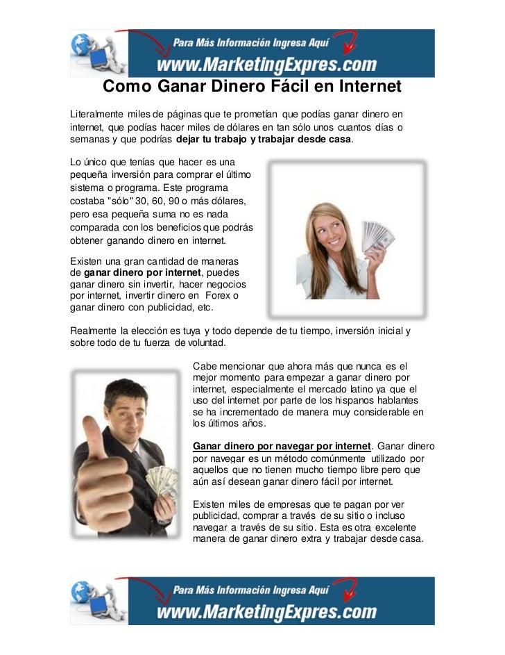 como ganar dinero fácil en internet