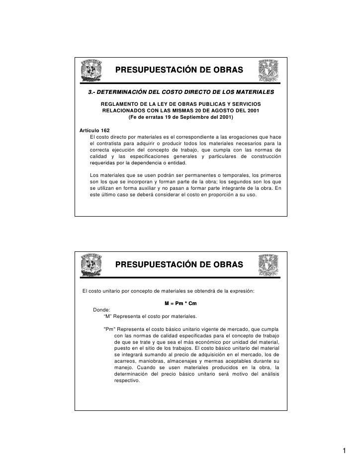 PRESUPUESTACIÓN DE OBRAS     3.-    3.- DETERMINACIÓN DEL COSTO DIRECTO DE LOS MATERIALES           REGLAMENTO DE LA LEY D...