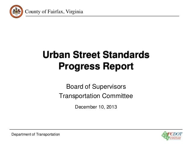 Urban Street Standards Progress Report