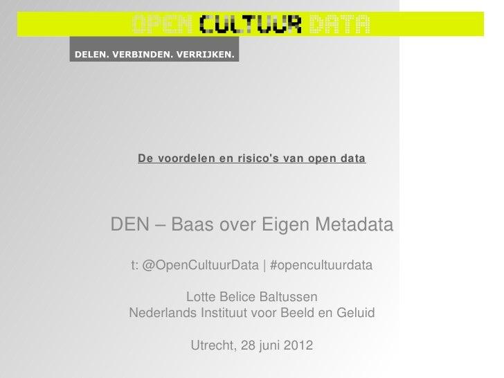 Workshop DEN Baas over eigen metadata
