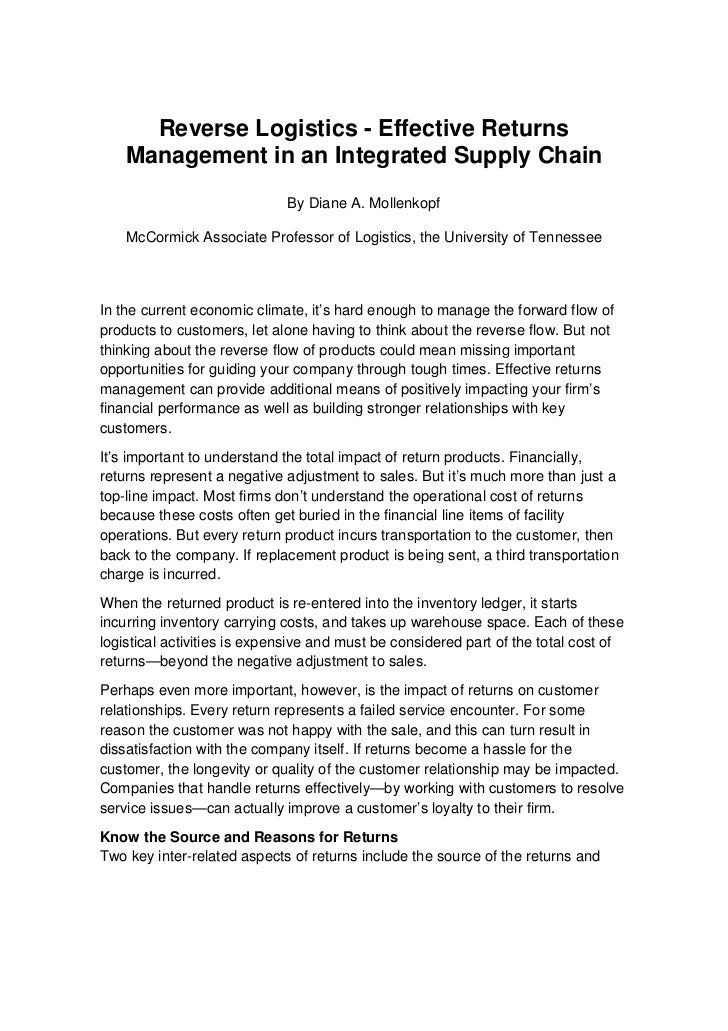 Reverse Logistics - Effective Returns    Management in an Integrated Supply Chain                             By Diane A. ...