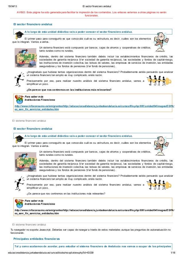 COMERCIO Y TRANSPORTE EN ANDALUCIA - TEMA 4 EL SECTOR FINANCIERO ANDALUZ - FP A DISTANCIA ANDALUCIA - GRADO SUPERIOR GESTION COMERCIAL Y MARKETING