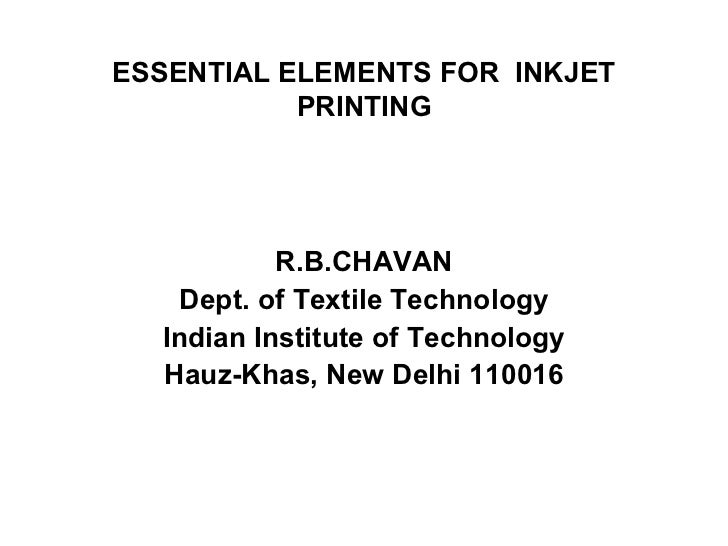 4. essential elements for  inkjet printing