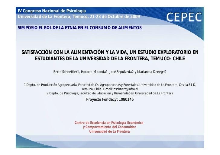 IV Congreso Nacional de Psicología Universidad de La Frontera, Temuco, 21-23 de Octubre de 2009  SIMPOSIO EL ROL DE LA ETN...