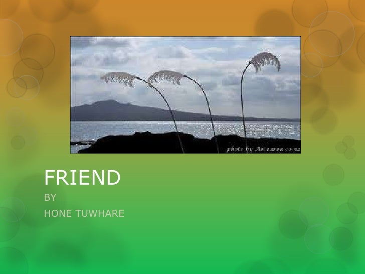 analysis of friend by hone tuwhare Hone tuwhare reads his poem, we who live in darkness, and discusses its  themes and meanings.