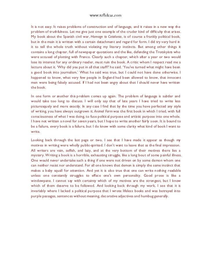 george orwell essays why i write