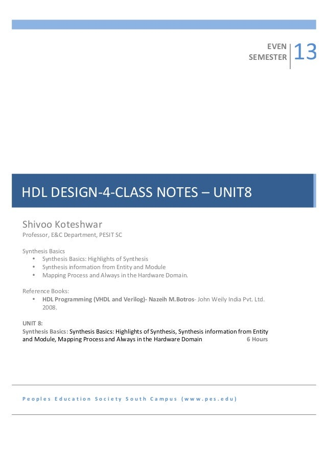 4Sem-HDL Programming Notes-Unit8-Synthesis