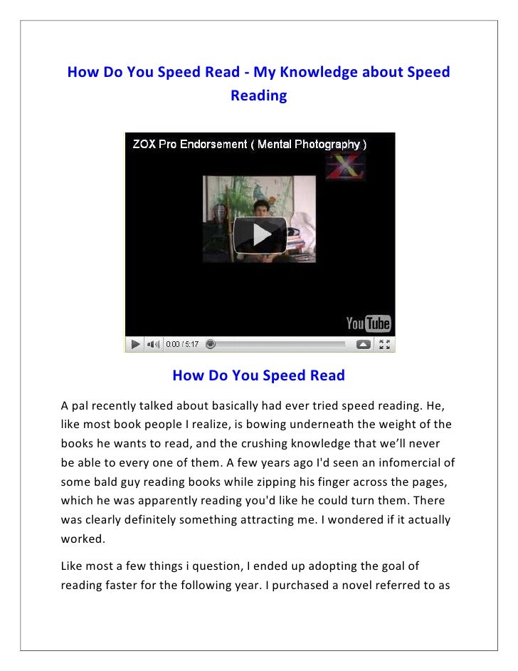 How Do You Speed Read - My Knowledge about Speed                     Reading                    How Do You Speed ReadA pal...