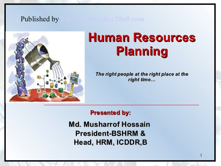 Human Resources Planning   The right people at the right place at the  right time… Presented by: Md. Musharrof Hossain  Pr...