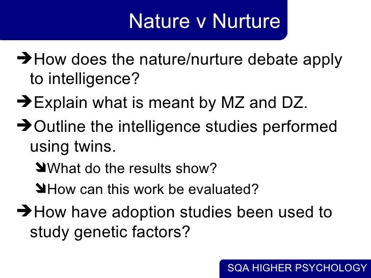 nurture essay Nature vs nurture essay nature vs nurture within this assignment i will be disusing the effects of nature the biological and maturation, and nurture the family, surroundings, parenting types, diet and social economic.