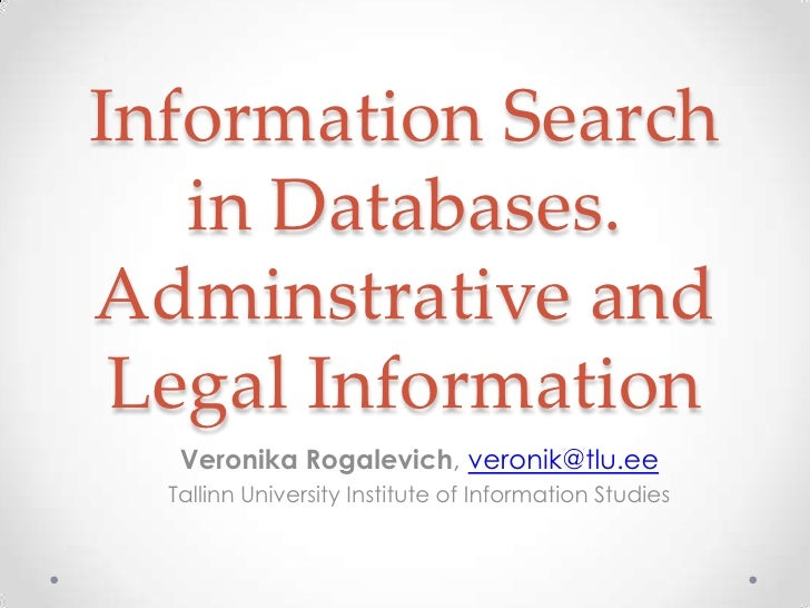 Information search in databases