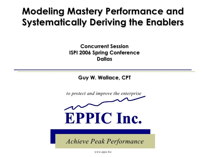 Modeling Mastery Performance and Systematically Deriving the Enablers Concurrent Session ISPI 2006 Spring Conference Dalla...