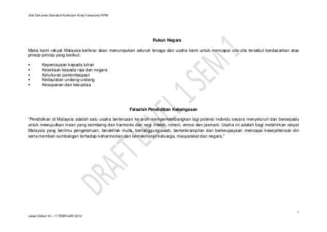 Draf Dokumen Standard Kurikulum Kolej Vokasional KPM                                                                 Rukun...