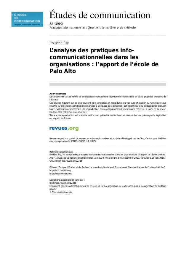 Études de communication 35 (2010) Pratiques informationnelles : Questions de modèles et de méthodes ........................