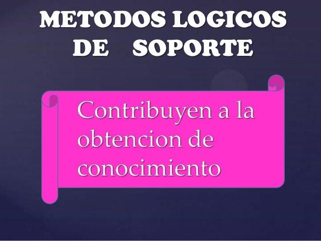 METODOS LOGICOS  DE SOPORTE   Contribuyen a la { obtencion de   conocimiento