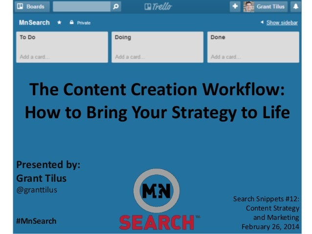 The Content Creation Workflow: How to Bring Your Strategy to Life Presented by: Grant Tilus @granttilus #MnSearch Search S...