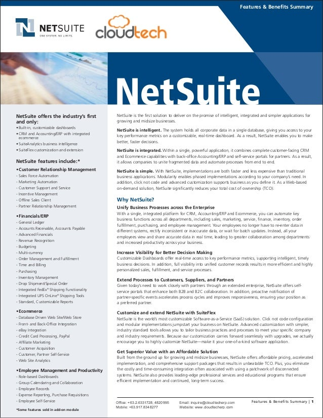 NetSuite is the first solution to deliver on the promise of intelligent, integrated and simpler applications for growing a...