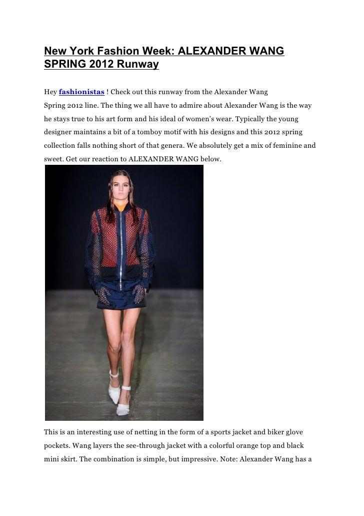 New York Fashion Week: ALEXANDER WANG SPRING 2012 Runway