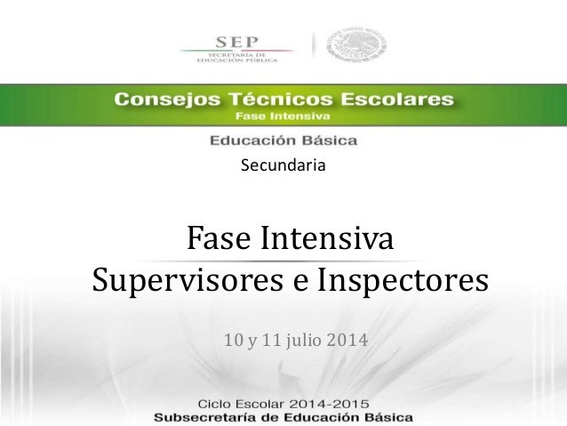 Fase Intensiva Supervisores e Inspectores 10 y 11 julio 2014 Secundaria