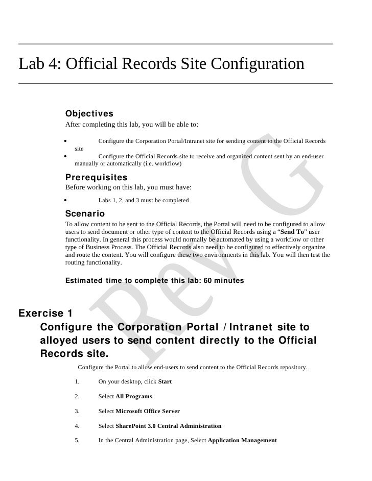 Lab 4: Official Records Site Configuration           Objectives          After completing this lab, you will be able to:  ...