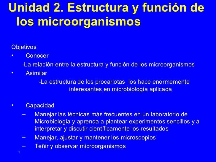 Unidad 2. Estructura y función de  los microorganismos Objetivos •    Conocer    -La relación entre la estructura y funció...