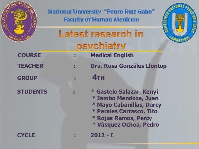 COURSE     :   Medical EnglishTEACHER    :   Dra. Rosa Gonzáles LlontopGROUP      :   4THSTUDENTS   :   * Gastelo Salazar,...