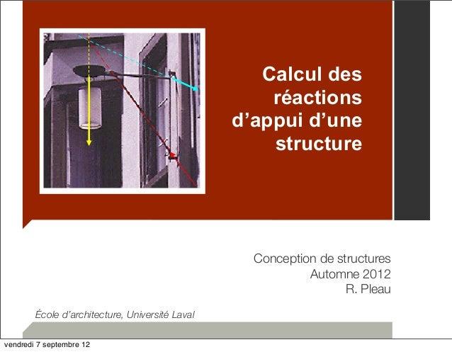 Calcul des  réactions  d'appui d'une  structure  Conception de structures  Automne 2012  R. Pleau  École d'architecture, U...