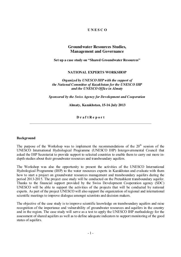 """UNESCO  Groundwater Resources Studies, Management and Governance Set up a case study on """"Shared Groundwater Resources""""  NA..."""