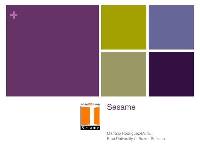 +  Sesame  Mariano Rodriguez-Muro, Free University of Bozen-Bolzano