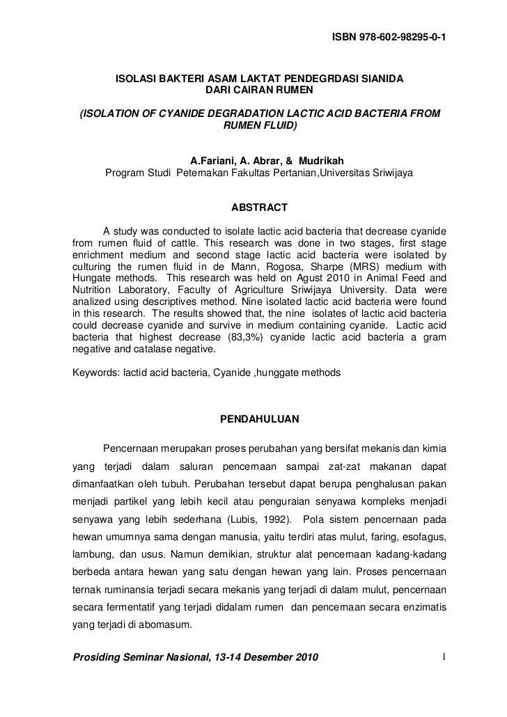 ISBN 978-602-98295-0-1         ISOLASI BAKTERI ASAM LAKTAT PENDEGRDASI SIANIDA                        DARI CAIRAN RUMEN (I...